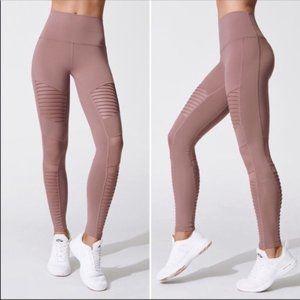 Alo | Size M. Moto High Waist Pink Leggings Mesh